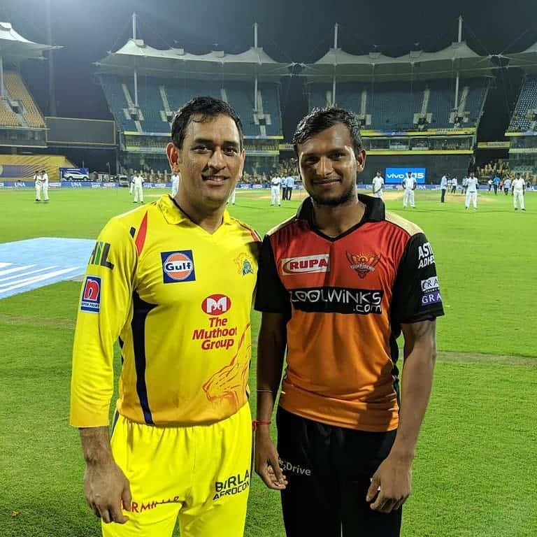 T Natarajan with ms dhoni
